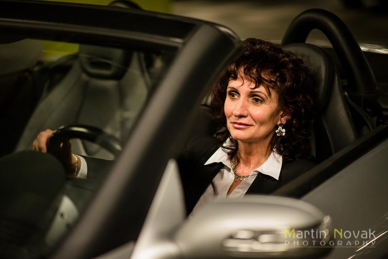 Senior business woman in car